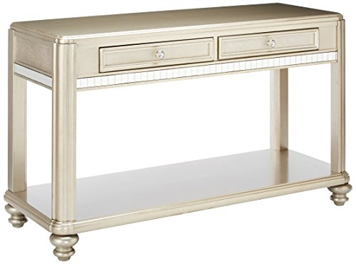 Coaster Home Furnishings Bling Game 2-Drawer Sofa Table Metallic Platinum