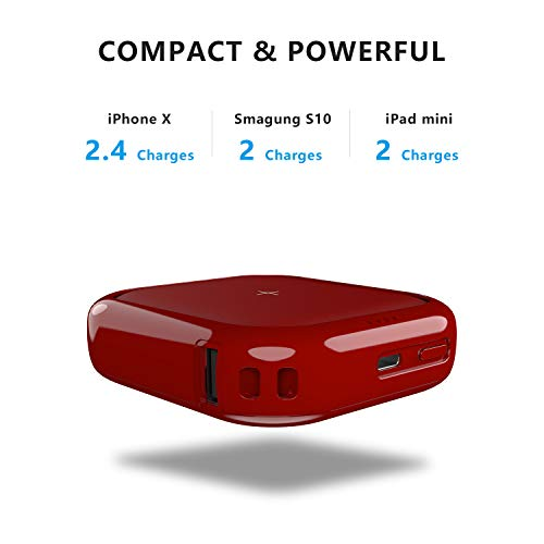 MIPOW Portable Wireless Charger, Ultra-Compact Qi 10000mah Power Bank with High-Speed Charging Technology External Battery for iPhone, Samsung Galaxy and More (White)