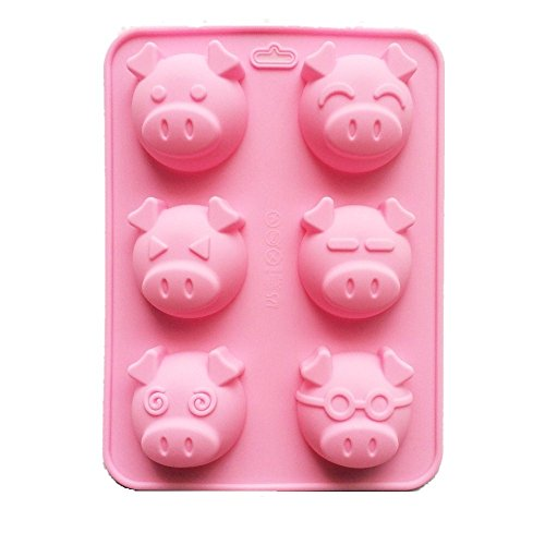 (Allforhome Large 6 Cavity Emotion Pig Piggy Non-stick Silicone Cake Mold Muffin Mould, non-stick Bath Bomb Soap Molds, Pudding, Chocolate, Fondant)