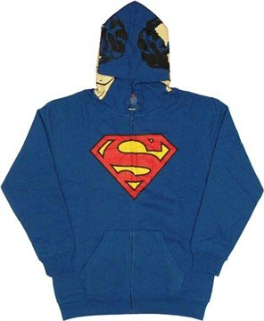 Superman DC Comics All Face View Zip up Hoodie (Large/Blue)]()