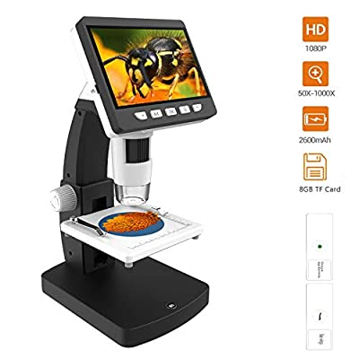 LCD Digital Microscope, YINAMA 4.3 inch 50X-1000X Magnification Zoom 1080P 2.0 Megapixels Compound Handhled Rechargeable 8 Adjustable LED Lights Hdmi 8G SD Card Microscopes