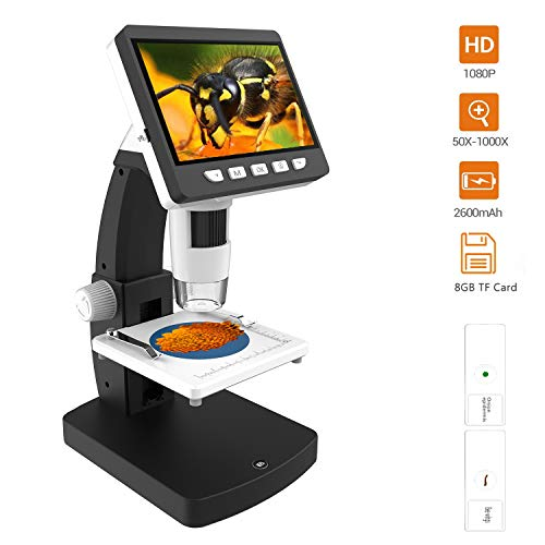 LCD Digital Microscope, YINAMA upgraded 4.3 inch 50X-1000X Magnification 1080P microscope camera, 2600mAh Rechargeable battery 8 LED Lights 8G SD Card with Slides for kids,students and hobbyist (Zoom Gem Microscope)