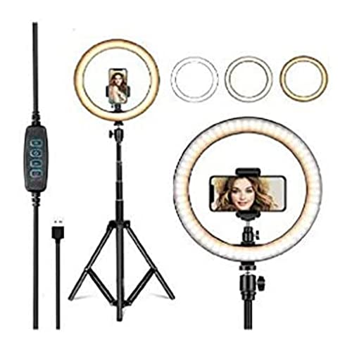 12-inch Camera LED Ring Light with Tripod Stand and Double Phone Holders Compatible with All Smartphones for Streaming, Makeup, Selfie Photography