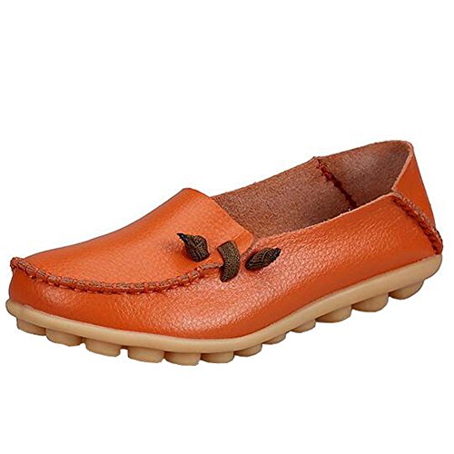 ANDAY Comfy Soft PU Leather Women Loafer Flats Slip On Pumps Mid Ages Shoes Orange XORj90EjMZ