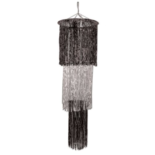 Beistle 1-Pack 3-Tier Shimmering Chandelier, 4-Feet, Black and Silver