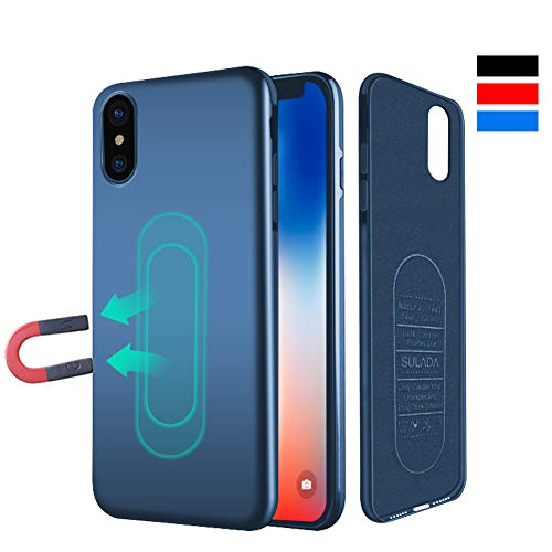 Case for iPhone Xs Max,Ultra Thin Magnetic Case for Magnet Car Phone Holder with Invisible Built-in Metal Plate,Soft TPU Shockproof Anti-Scratch Protective Cover for iPhone Xs Max 6.5[Blue] ...