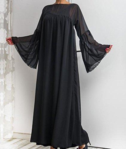 Confortables ¡¯ S Plissé Longues Moyen Orient Robes De Mousseline De Manchon En Cloche Noir