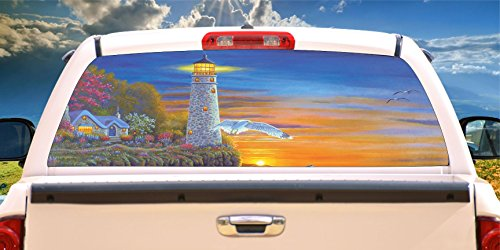 Tire Cover Central Lighthouse Evening Lights Rear Window Mural, Decal, or Tint(Choose Size or Send Your own Measurements)