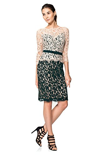 Tadashi Shoji Women's Two-Toned Lace Dress with Three-Quarter Sleeve and Belt, Latte/Navy, 6 ()