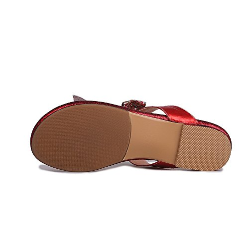 AllhqFashion Women's Pull On Low Heels Blend Materials Assorted Color Split Toe Slippers Red TlE8fuJ6CA