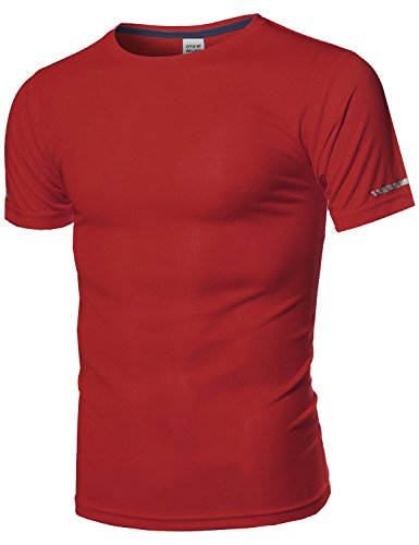 Style by William Men's Workout Activewear Crew Neck Short Sleeve Top Red - Style Fall Mens