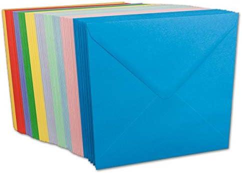50 Briefumschläge Bunt Mix DIN C6-100 g/m² Kuvert Ohne Fenster 11,4 x 16,2 cm - Nassklebung spitze Klappe - Umschläge Paket farbig zum basteln - Glüxx-Agent
