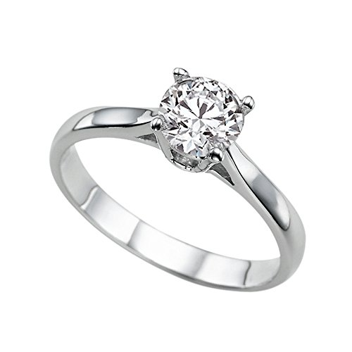 1.00ct Lab Created White Sapphire Engagement Ring White Gold 14K Cathedral Round Cathedral Solitaire Engagement Ring