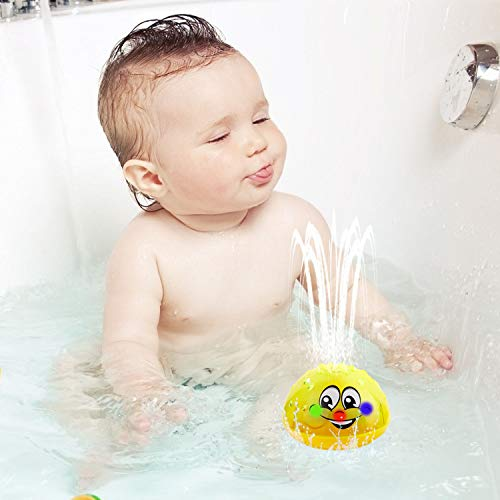 LETBEFUNA Baby Bath Toys, Spray Water Toy with LED Light Bathtub Toys, Sprinkler Bath Toys for Toddlers 1-3 Years (Yellow)