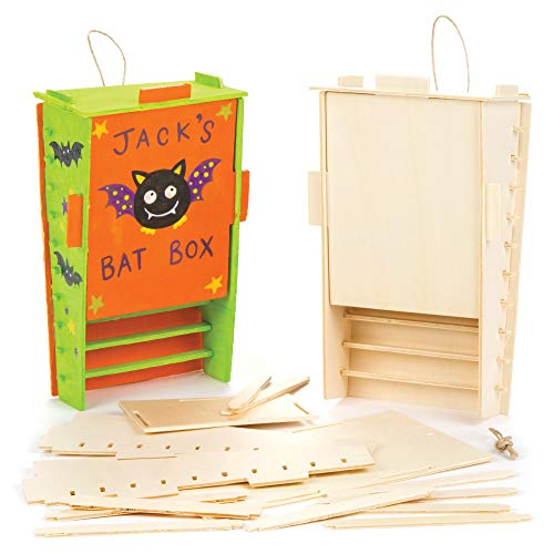 Baker Ross Wooden Bat Box Kits Creative Art Supplies for Children Crafts and Decorations (Pack of 2)