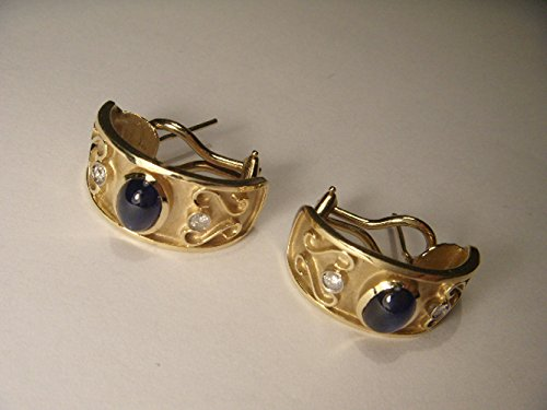 Gorgeous Estate 14K Yellow Gold Etruscan Cabochon Sapphire Diamond Earrings (Ring Yellow Etruscan)