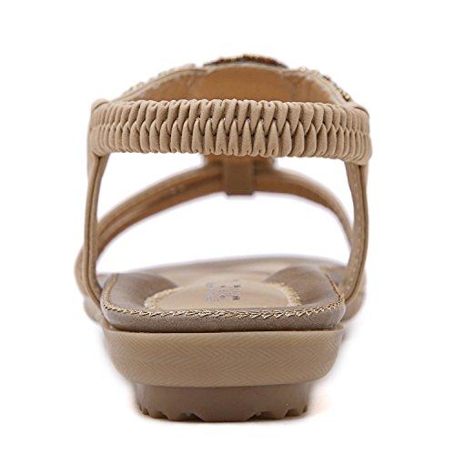 ZOEREA Sandalias Mujer Bohemia Flat Verano Sandals PU Flip-Flops de cuero Zapatos de mujer Albaricoque