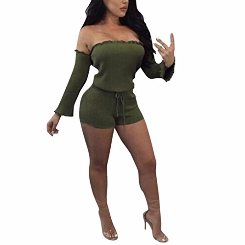 Kettle Halo (❤️Women Jumpsuit,Hot New Fashion 2018 Clearance Neartime Rompers Overalls Sexy Long Sleeve Ladies Clubwear Shorts Playsuit Bodycon Party Jumpsuit Romper Trousers (S, Green))