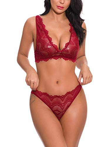 YIKAYI Women Lace Lingerie Set Nightwear Lace Teddy Babydoll Bodysuit Underwear Set