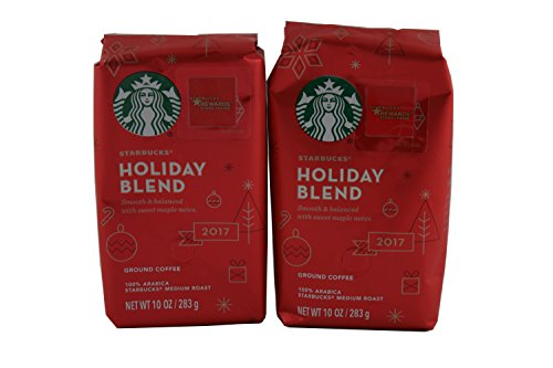 Starbucks Holiday Blend Medium Roast Ground Coffee, 10-Ounce Bag (2 Pack)