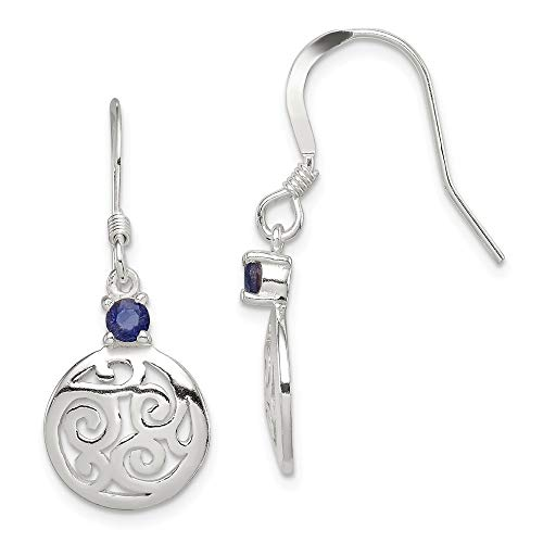 Blue Iolite Round Filigree Drop Dangle Chandelier Earrings Fine Jewelry Gifts For Women For Her ()