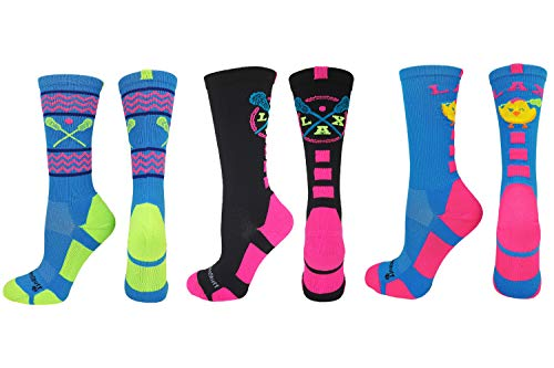 MadSportsStuff Girls Crazy Lacrosse Chevron Socks Gift Pack Crew Length (Girls 3 Pack, Medium)
