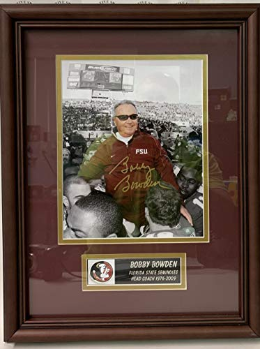 (Bobby Bowden Autographed Hand Signed FSU Seminoles Framed 8x10 Photo - with COA)