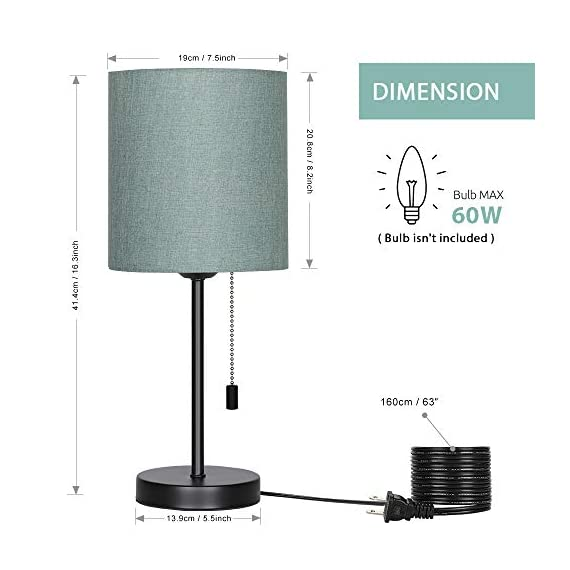 HAITRAL Bedside Table Lamp - Modern Nightstand Lamps with Fabric Shade, Pull Chain Switch Small Desk Lamps for Bedrooms, Kids Room, College Dorm - CadetBlue (HT-TH102-10) - 【MODERN & MINMALIST DESIGN】 The modern table lamp is designed for a stylish and elegant look that fits any decor scheme, such as urban, modern, minimalist, vintage and traditional. The stylish design showcases black metal base with cadet blue shade for an added upscale feel and elegant touch to any room. 【PERFECT SIZE FOR ANY DESK】 Lamp dimensions - 16.3 x 7.5 x 5.5 inches, the stick lamp has a mini basic that fits to any desk, table or dresser. It's small lamp but it can give off a nice amount of light, able to brighten up a room by itself. Dresses up any room with a soft radiance! It's perfect for bedrooms, kids room, college dorm, nursery, office, girls room or den. ❥ (Please be clear about the size when you browse) 【BULB REQUIREMENTS】 The HAITRAL nightstand lamp can be only equipped with an E26 standard size light bulbs, Max 60 watts (Without Bulbs). It's compatible with a variety of light bulbs, such as incandescent, halogen bulbs, LED or CFL light bulbs. Its cadet blue shade softens the light that provides a flicker-free lighting for reading, studying or working. Eye-caring and affordable! - lamps, bedroom-decor, bedroom - 41xPPWS25wL. SS570  -