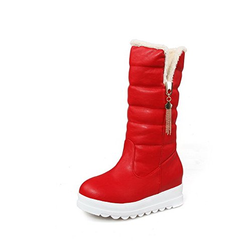 AllhqFashion Womens Round Closed Toe Kitten-heels Blend Materials Solid Mid-calf Boots Red