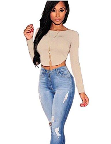 CHN'S Women Sexy Crop Top Summer Shirt Long Sleeve Zipper Back Blouse Club Wear (L, Khaki) (Beige Sexy Shirt)