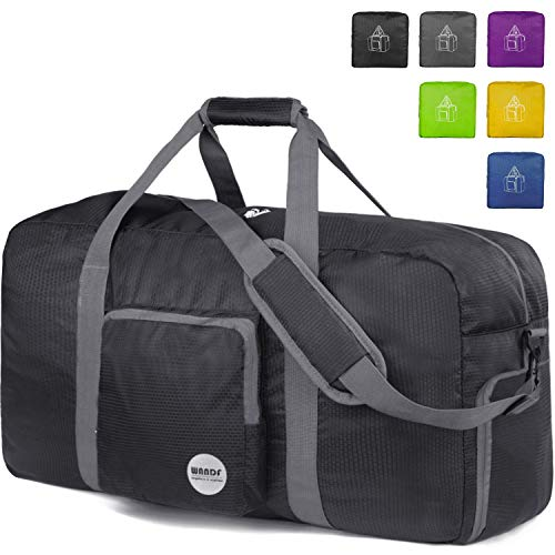 (24'' Foldable Duffle Bag 60L, Super Lightweight Travel Duffel for Luggage Sports Gym Water Resistant Nylon By WANDF)