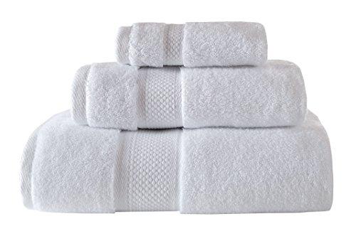 Bagno Milano Luxury Hotel & Spa Collection 700 GSM Towel Set, Aqua Fibro Finest Turkish Cotton, Set of 3 Towel Bundle, White