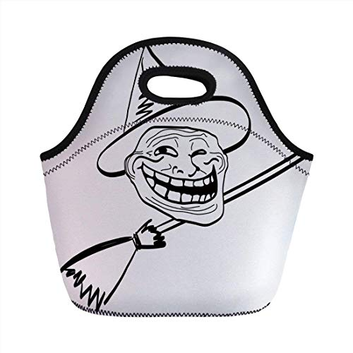Portable Bento Lunch Bag,Humor Decor,Halloween Spirit Themed Witch Guy Meme Lol Joy Spooky Avatar Artful Image,Black White,for Kids Adult Thermal Insulated Tote -