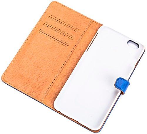 Original SURAZO® Premium CC Book-Style Hülle **tasche für Kreditkarten ** Echt Leder, Handarbeit, 100% Hergestellt in EU! ** Bookcase für IPhone 6+Blau/Blue