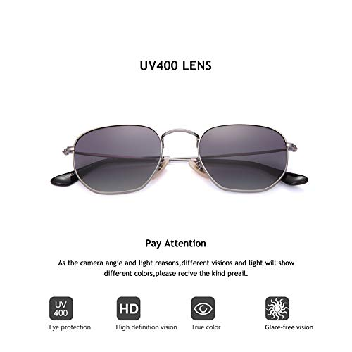 2020Ventiventi AK17033 Fashion Silver Frame/Gradient Smoke Lens Pentagon 50mm Polarized Stainless Steel Sunglasses