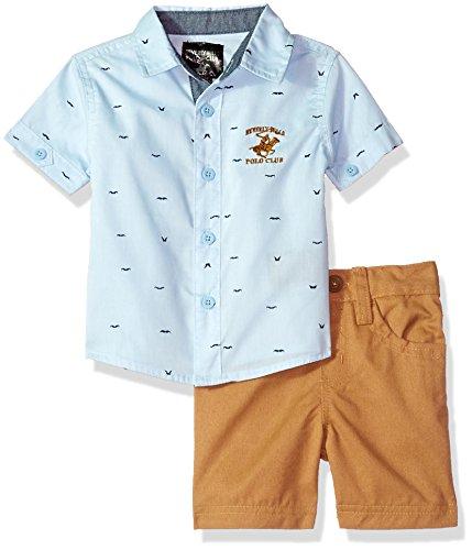 Beverly Hills Polo Club Baby Boys Woven Shirt & Short Set