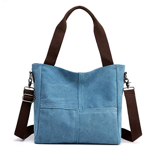 Women's Canvas Shoulder Bags Tote Purses Satchel Work Travel Crossbody Bag (Blue)