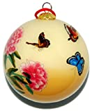 Hand Painted Glass Ornament, Yellow with Butterflies and Pink Peonies CO-191