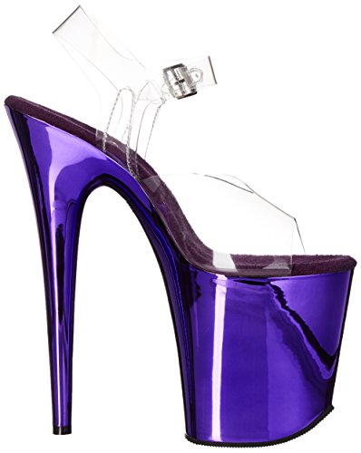 Pleaser Women's FLAM808/C/PPCH Platform dress Sandal Clear/Purple Chrome with mastercard sale outlet store outlet visa payment iXDLdP4