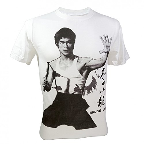 Immortal Men's Bruce Lee Master Kung Fu Legend Hero T-Shirt V3 White X-Large