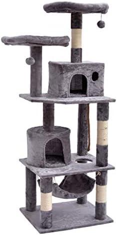 猫の木と塔、猫のクライミングフレーム、豪華な生息地とアパートの家具、サイザル麻で覆われたスクラッチポスト、ペットの猫のおもちゃ、猫、子猫、ペット、グレー (Color : Gray)