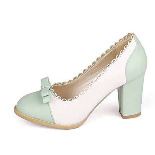 Balamasa Femmes Talons Chunky Bicolores Évider Uréthane Pompes-chaussures Vert Clair