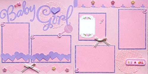 Baby Girl Pink Purple (2) Scrapbook Pages Premade