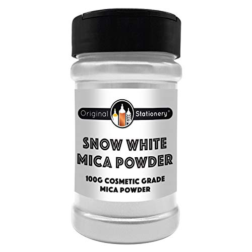 (Mica Powder - 3.5 ounces / 100 grams [HUGE x3-5 THE SIZE OF OUR COMPETITORS] Cosmetic Grade - True Colors - Beautiful Mica for Slime, Soap Making, Bath Bombs, Make-up, Nails (Snow White))
