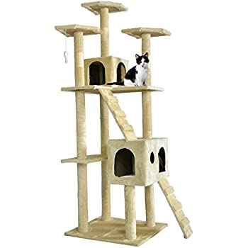 """Beige 73"""" Cat Tree Scratcher Play House Condo Furniture Bed Post Pet House"""
