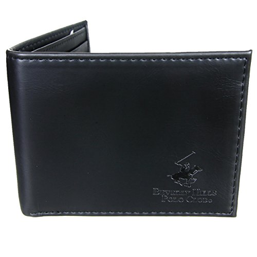 Beverly Hills Polo Club Men's Embossed Genuine Leather Black Wallets - Gift Boxed Bi-Fold and Tri-Fold Black Leather Wallets (Bi-Fold - Shop Card Hills Beverly