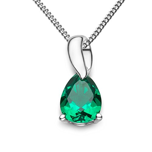 Miore-Womens-9-ct-White-Gold-Pear-Shape-Emerald-Pendant-with-Curb-Chain-of-45-cm