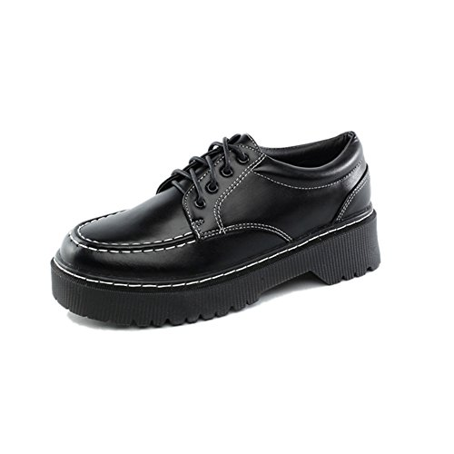 T-JULY Womens Fashion Oxfords Shoes - Comfy Lace-up Low Wedge Round Toe Casual Shoes 5fQrYw