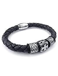 TEMEGO Jewelry Men's Leather Rope Stainless Steel Bracelet,Celtic Cross Engraved Cuff Bangle,8.46 Inch