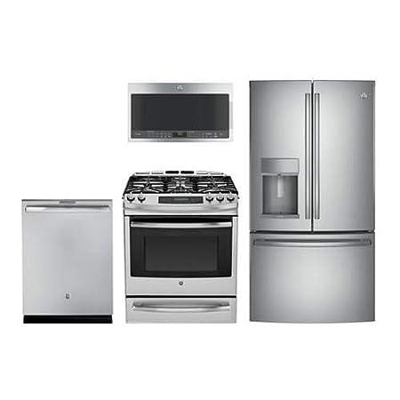 GE perfil 4 piezas Paquete de cocina con Gas gama ...